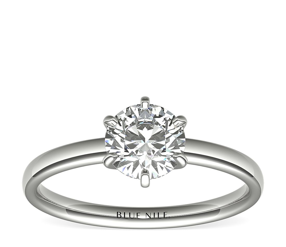 3/4 Carat Ready-to-Ship Six-Prong Low Dome Comfort Fit Solitaire Engagement Ring in 14k White Gold (2mm)