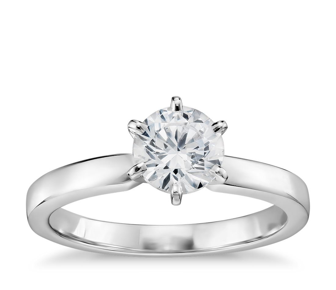 3 4 Carat Ready-to-Ship Six-Prong Low Dome Comfort Fit Solitaire Engagement  Ring in 14k White Gold (2mm)  2de0227860