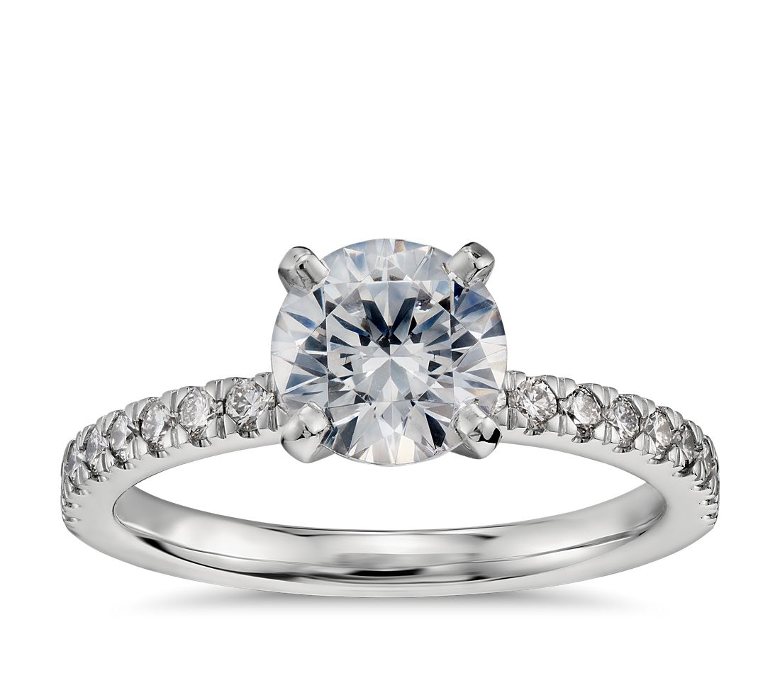 1 Carat Ready-to-Ship Petite Pavé Diamond Engagement Ring in Platinum
