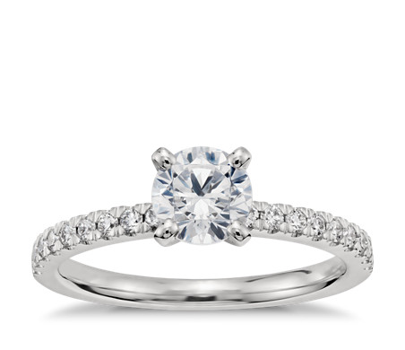 3/4 Carat Ready-to-Ship Petite Pavé Diamond Engagement Ring in Platinum