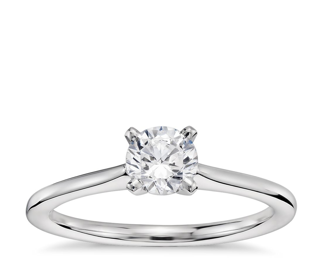 1 2 Carat Ready To Ship Pee Solitaire Engagement Ring In 14k White Gold