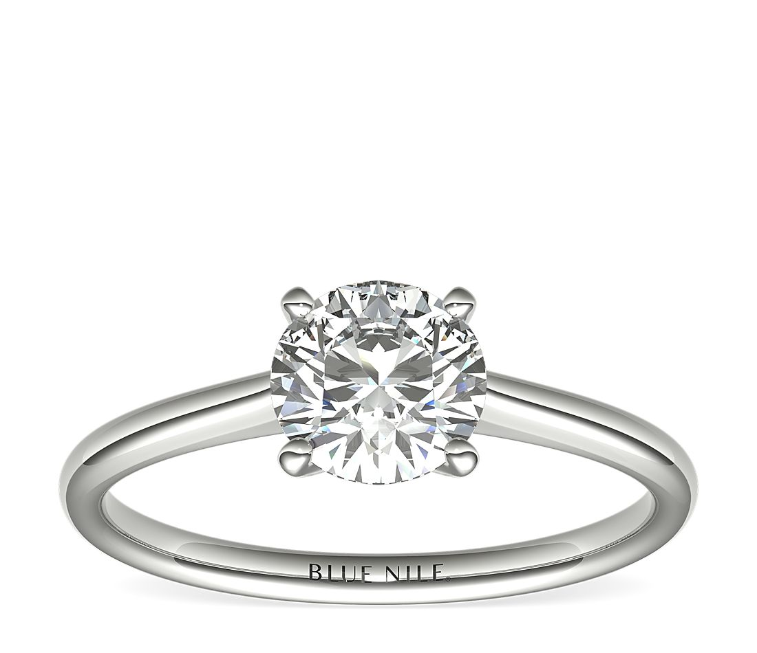 1 Carat Ready-to-Ship Petite Solitaire Engagement Ring in 14k White Gold