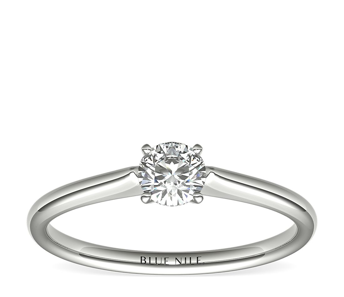 de1e31a94b116 1/3 Carat Ready-to-Ship Petite Solitaire Engagement Ring in 14k White Gold