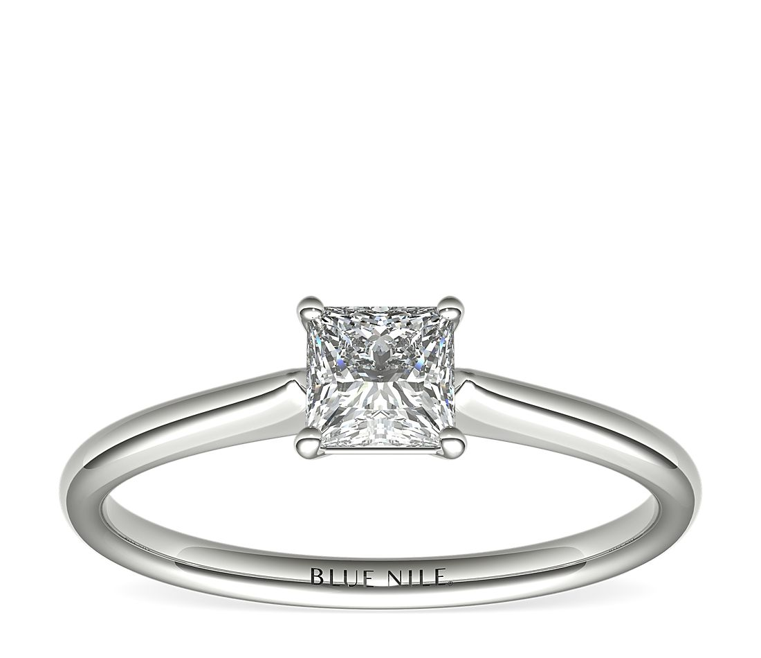 1/2 Carat Ready-to-Ship Princess-Cut Petite Solitaire Engagement Ring in 14k White Gold