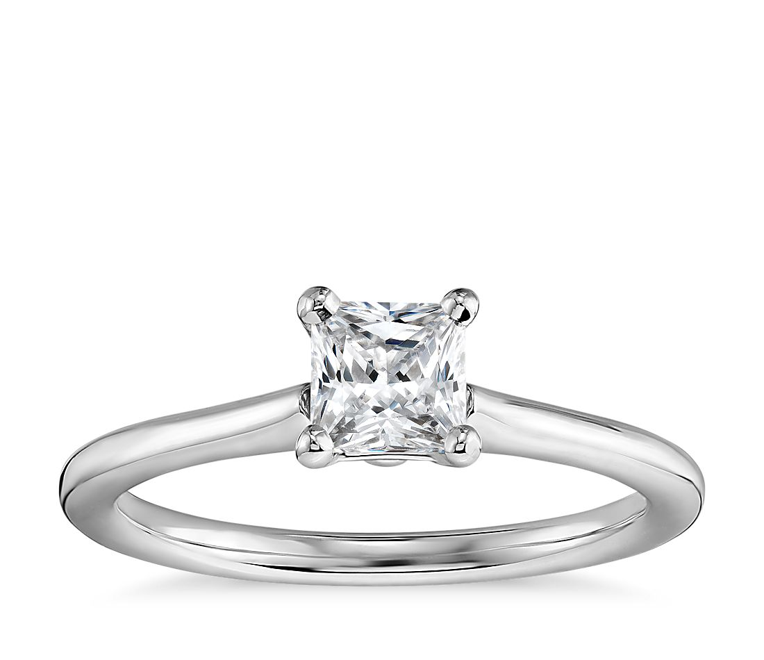 1 2 Carat Ready-to-Ship Princess-Cut Petite Solitaire Engagement Ring in  14k White Gold  c5db170d0e75