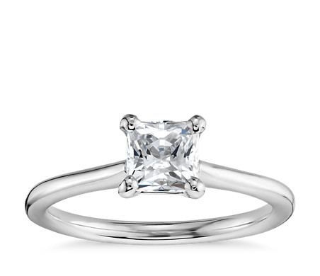 3/4 Carat Ready-to-Ship Princess-Cut Petite Solitaire Engagement Ring in 14k White Gold
