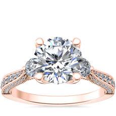 新款 14k 玫瑰金 Realeza 三石锯状滚边钻石订婚戒指(1/2 克拉总重量)