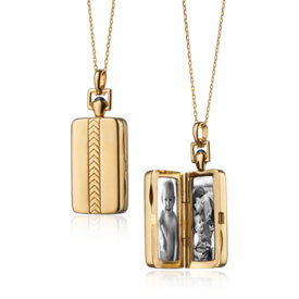 Monica Rich Kosann Rectangular Chevron Locket in 18k Yellow Gold
