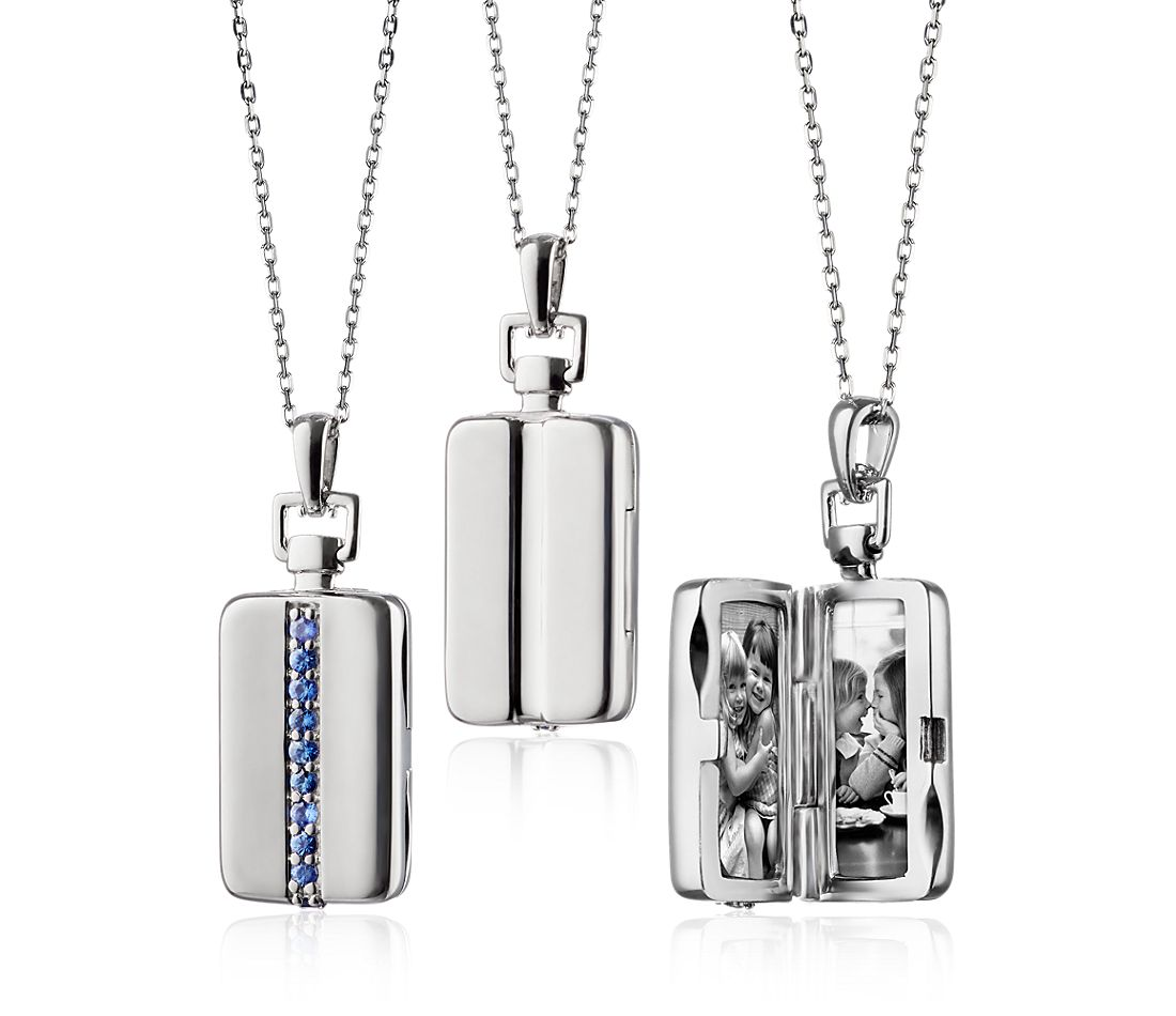 Monica Rich Kosann Sapphire Rectangular Locket in Sterling Silver (1.8mm)