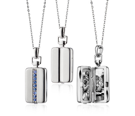 Sapphire Rectangular Locket in Sterling Silver (1.8mm)