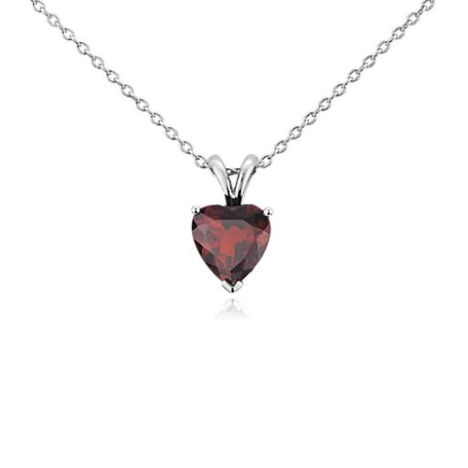Garnet heart pendant in sterling silver 8mm blue nile mozeypictures Gallery