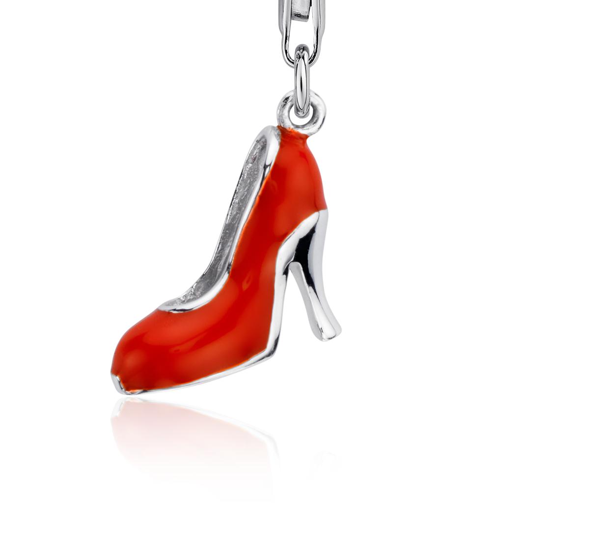 Dije con forma de zapato de tacón rojo en plata de ley