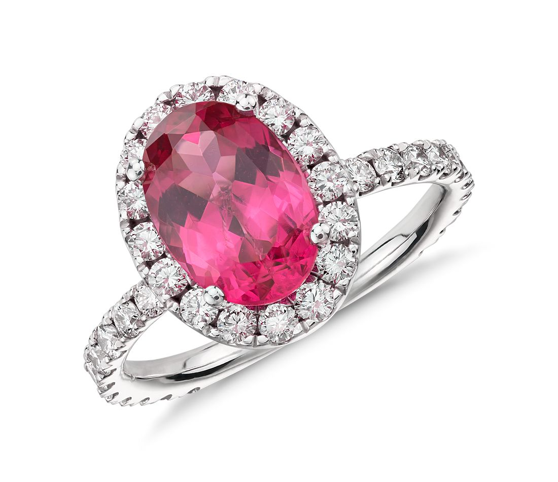 Red Spinel And Micropavé Halo Diamond Ring In 18k White Gold (143 Ct  Center)