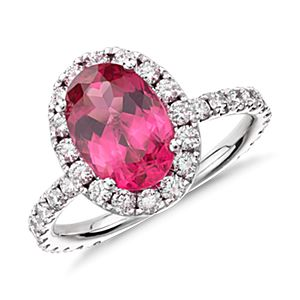 Red Spinel and Micropavé Halo Diamond Ring in 18k White Gold (1.43 ct center)