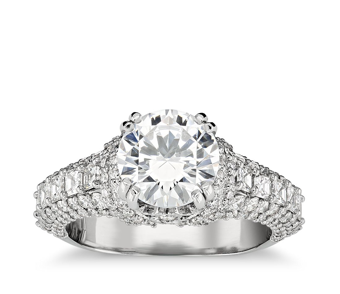 Bella Vaughan for Blue Nile Regal Collar Diamond Engagement Ring in Platinum (1 1/3 ct. tw.)