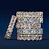 première vue alternative des Bague d'éternité royale avec diamants taille ovale en or rose 18carats - G/SI1 (5carats, poids total)