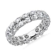 NOUVEAU Bague d'éternité royale avec diamants taille ovale en platine - G/SI1 (5carats, poids total)