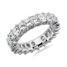 NEW Anillo de eternidad real de diamantes de talla radiante in platino - G/SI1 (5 qt. total)