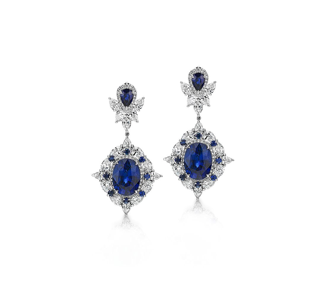 cd18335b04b2 Regal Sapphire and Diamond Drop Earrings in 18k White Gold