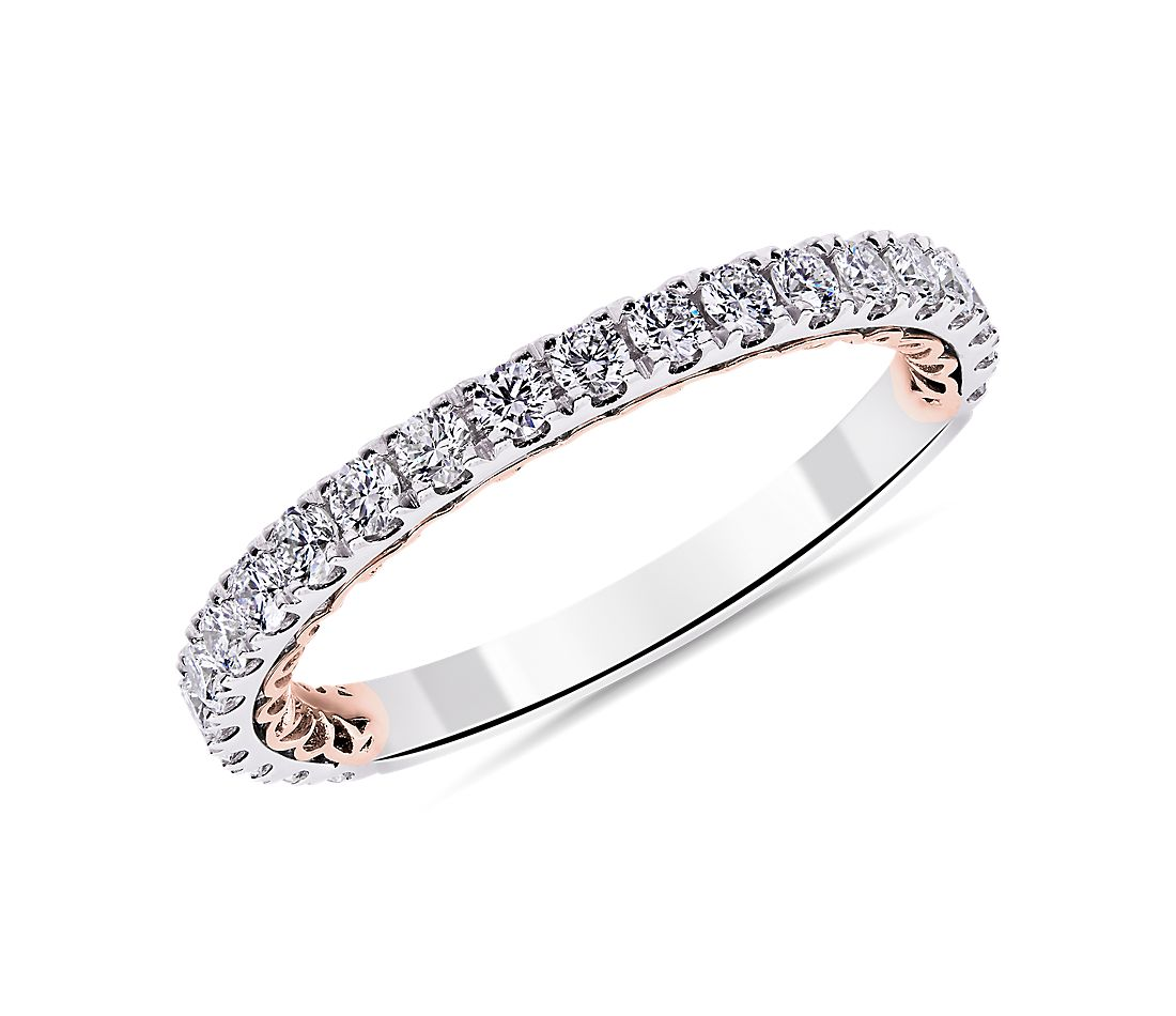 Alliance en diamant Regalia en or rose et or blanc 14 carats (1/2 carat, poids total)