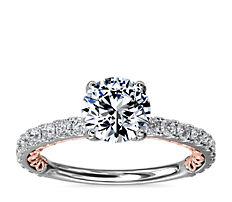 Bague de fiançailles diamant bicolore Regalia en or rose et or blanc 14carats (1/2carat, poids total)