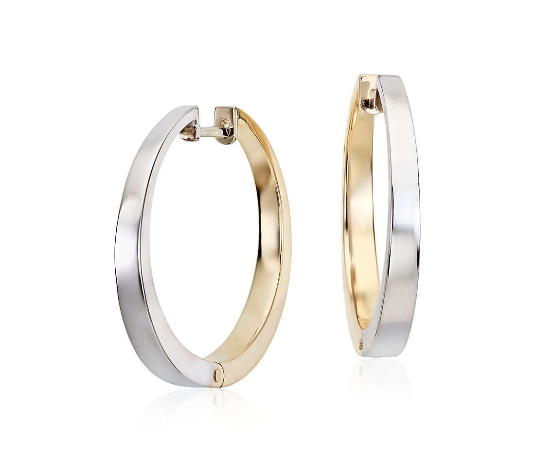 Reversible Round Two Tone Hoop Earrings In 14k White And Yellow Gold 15 16