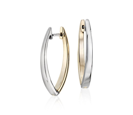 Reversible Marquise Two Tone Hoop Earrings In 14k White And Yellow Gold