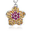 Garnet and Citrine Flower Charm in Sterling Silver