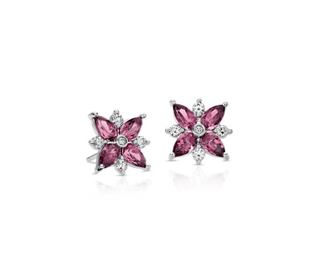 Rhodolite Garnet And Diamond Cer Stud Earrings In 14k White Gold 5x3mm