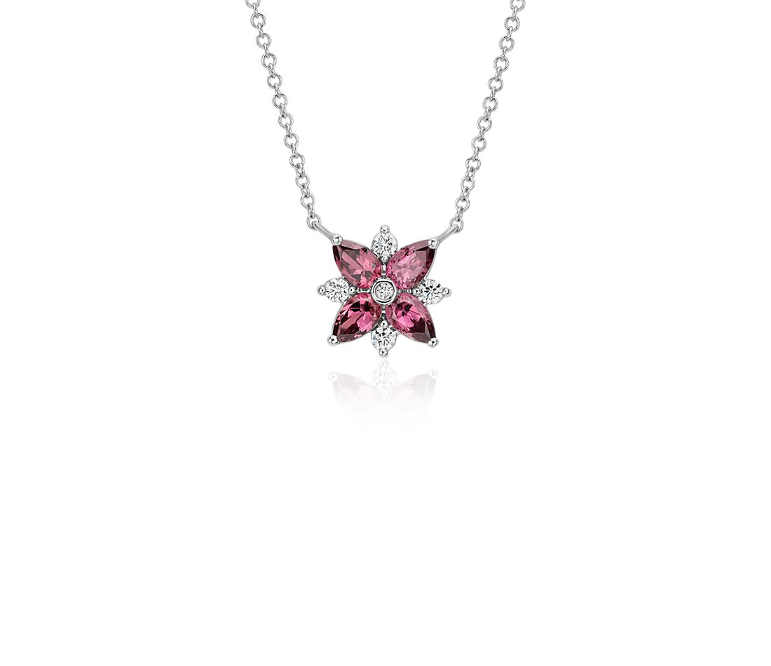 Collier grappe diamant et grenat rhodolite en or blanc 14 carats (5 x 3 mm)