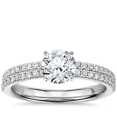 Rialto Pavé Diamond Engagement Ring in 14k White Gold (0.32 ct. tw.)