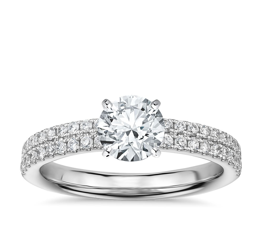Rialto Pavé Diamond Engagement Ring In 14k White Gold 1 3 Ct Tw