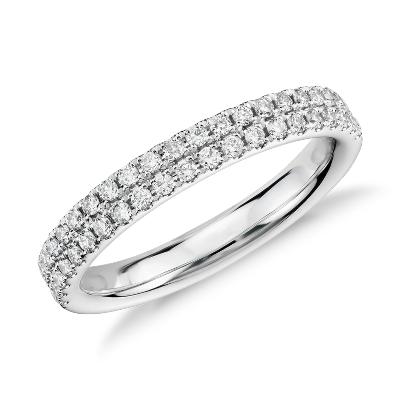 Rialto Pav Diamond Ring in 14k White Gold 13 ct tw Blue Nile