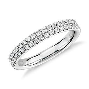 Anillo con pavé de diamantes Rialto en oro blanco de 14 k (1/3 qt. total)