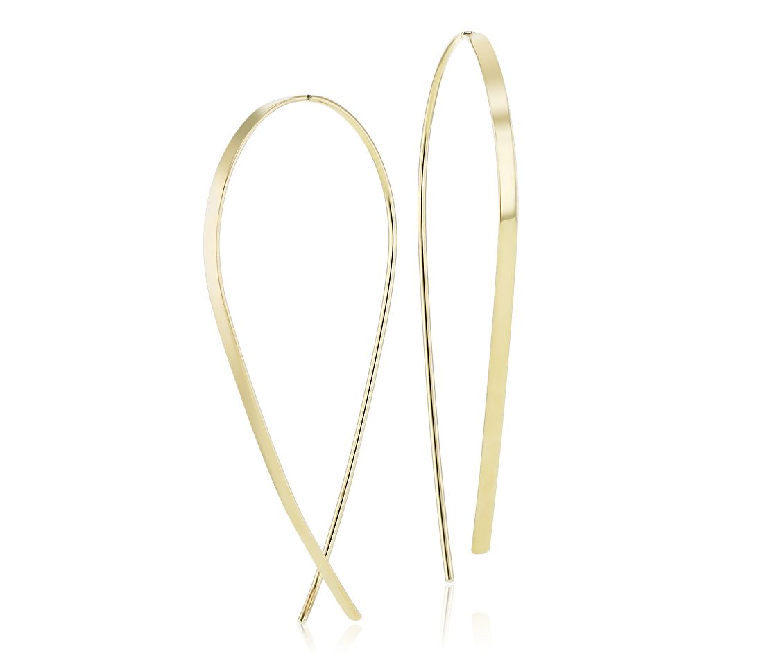 Ribbon Threader Earrings in 14k Yellow Gold