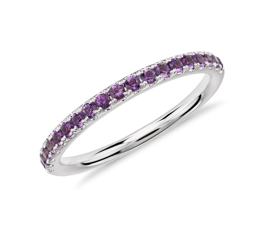 riviera pav amethyst ring in 14k white gold 15mm - Amethyst Wedding Ring