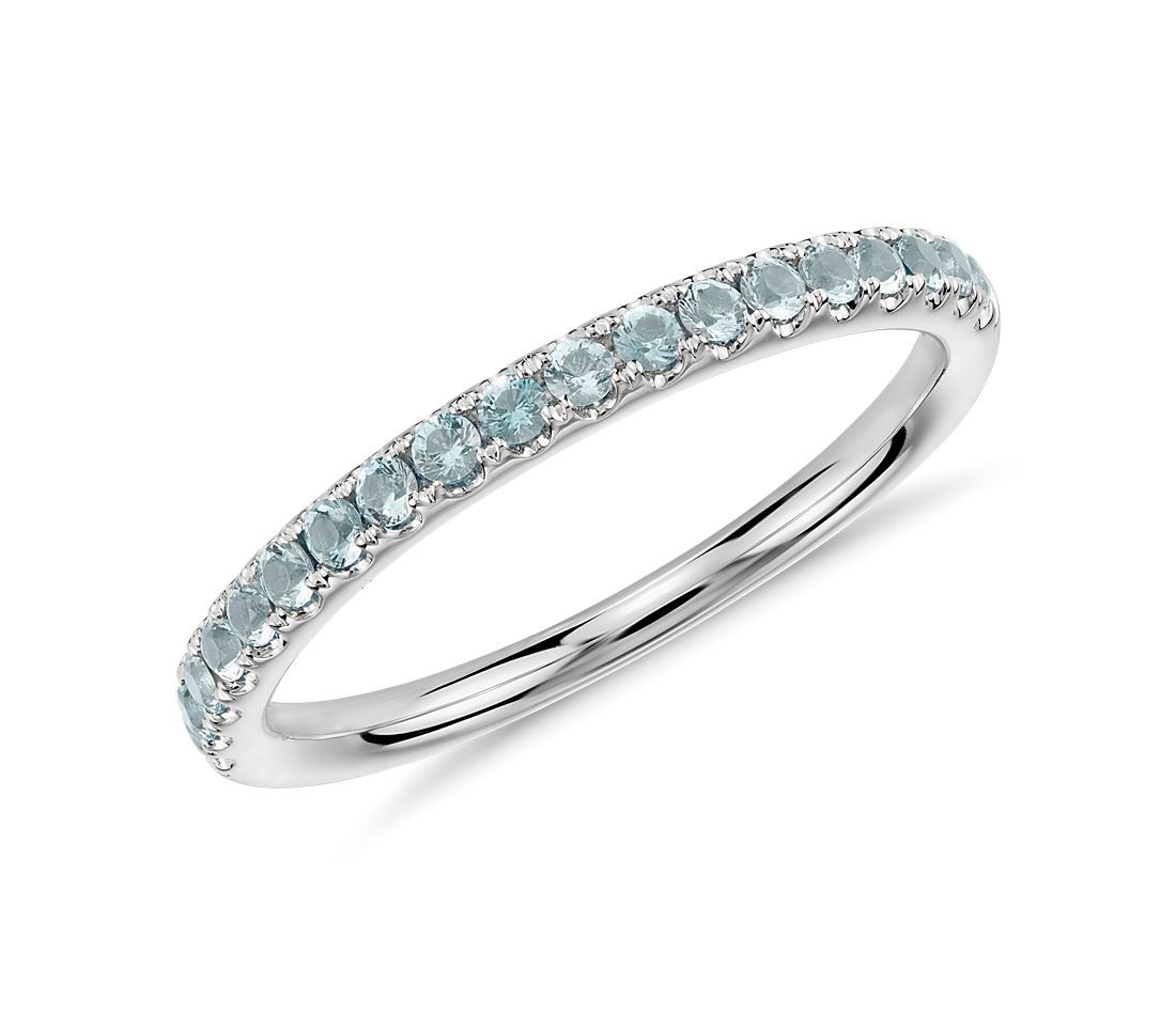 Riviera Pavé Aquamarine Ring in 14k White Gold