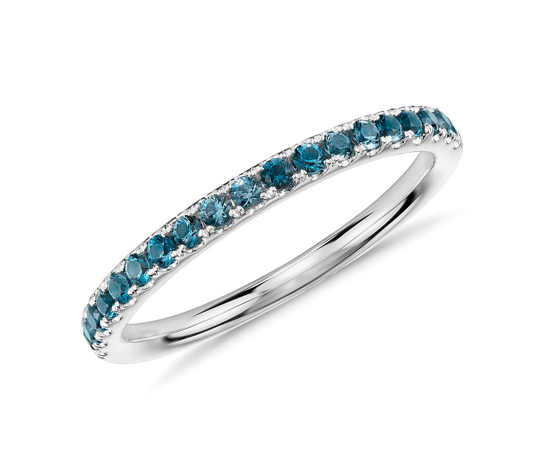 Riviera Pavé Blue Topaz Ring in 14k White Gold (1.5mm