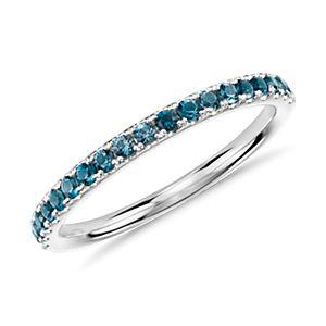 Riviera Pavé Blue Topaz Ring in 14k White Gold (1.5mm)