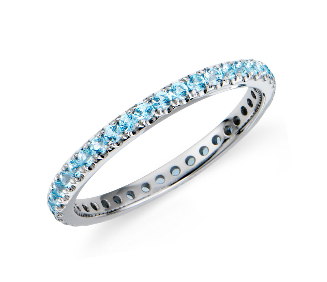 Riviera Pavé Blue Topaz Eternity Ring in 18k White Gold