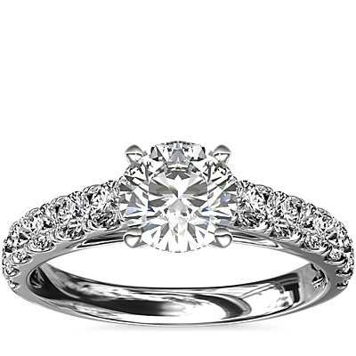 Riviera Cathedral Pavé Diamond Engagement Ring in 14k White Gold