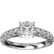 Riviera Cathedral Pavé Diamond Engagement Ring in 14k White Gold (0.46 ct. tw.)