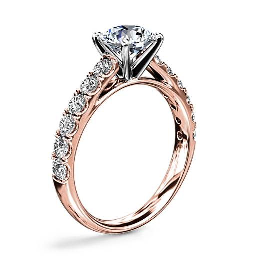 Riviera Cathedral Pavé Diamond Engagement Ring