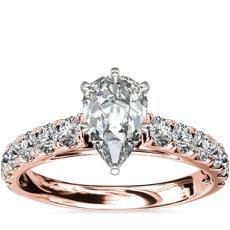 14k 玫瑰金 Riviera 大教堂密钉钻石订婚戒指<br>(1/2 克拉总重量)