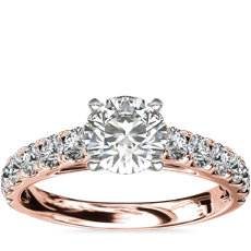Riviera Cathedral Pavé Diamond Engagement Ring in 14k Rose Gold (1/2 ct. tw.)