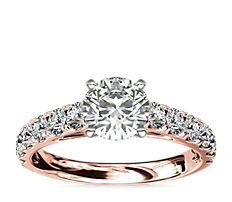 Riviera Cathedral Pavé Diamond Engagement Ring in 14k Rose Gold