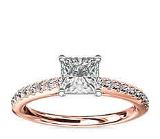 NEW Riviera Cathedral Pave Diamond Engagement Ring in 14k Rose Gold (1/4 ctw.)