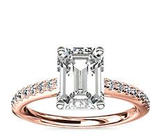 14k 玫瑰金大教堂密釘鑽石訂婚戒指 (1/4 克拉總重量)