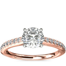 Riviera Cathedral Pave Diamond Engagement Ring in 14k Rose Gold (1/4 ctw.)