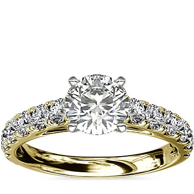 Riviera Cathedral Pavé Diamond Engagement Ring in 18k Yellow Gold